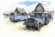 VW and Land Rover Series 2 Dormobiles.
