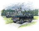 July. Range Rover Monteverdi beside its natural home; Balmoral Castle.