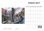 Louise Limb Motorcycle Art Calendar 2017 Month sample.